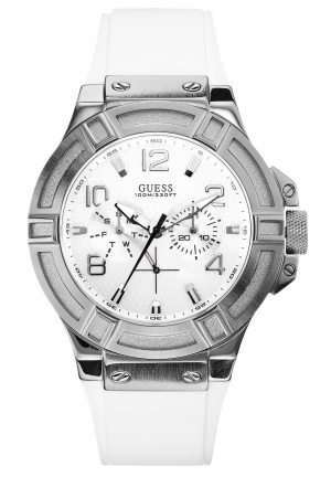 GUESS Men's Rigor White Silcone Casual Sport Watch