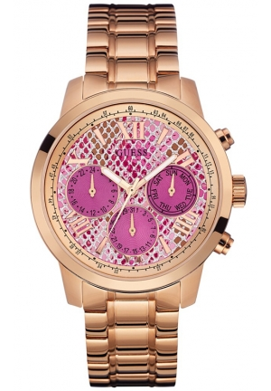 GUESS Women's Rose Gold-Tone Stainless Steel Bracelet Watch 42mm