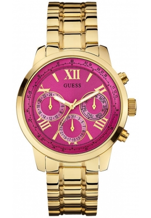 GUESS Multi-Function Gold Stainless Steel Pink Dial Ladies Watch 42mm