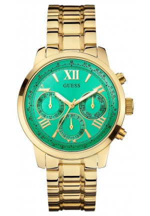 GUESS Women's Gold-Tone Multi-Function Watch with Green Dial 42mm