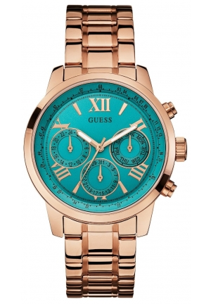 GUESS Women's Glamorous Sparkling Rose Gold-Tone Watch 42mm