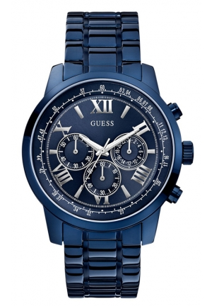 GUESS Men's Chronograph Blue-Tone Bracelet Watch 45mm