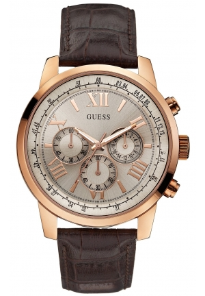 GUESS Men's Chronograph Brown Croco Leather Strap Watch 45mm