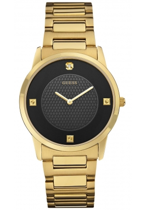 GUESS Men's Sleek Gold-Tone Watch with Diamond Accented Black Dial