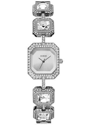 GUESS Women's Crystal Accent Silver-Tone Bracelet Watch 24x21mm