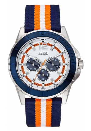 GUESS Blue, Orange and Silver-Tone Masculine Racing Watch 46mm
