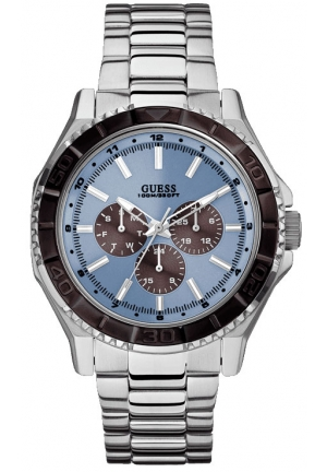 GUESS Blue and Silver-Tone Masculine Multifunction Sport Watch 43mm