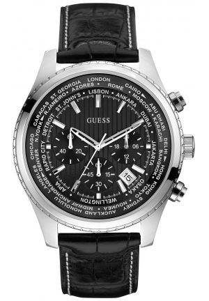 GUESS Chronograph Black Leather Strap Watch 46mm
