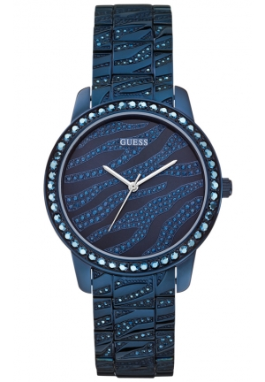 GUESS Women's Crystal Accent Blue-Tone Bracelet Watch 38mm
