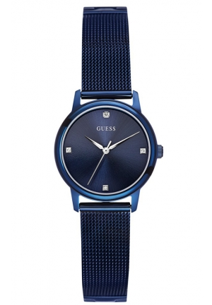 GUESS Diamond Accent Blue-Tone Mesh Bracelet Watch 28mm