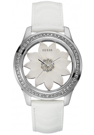 GUESS Women's White Patent Leather Strap Watch 42mm