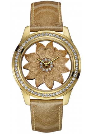 GUESS Women's Gold Metallic Patent Leather Strap Watch 42mm