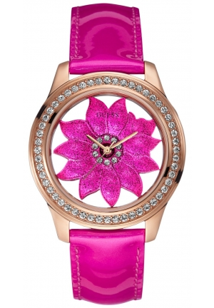 GUESS Women's Pink Patent Leather Strap Watch 42mm