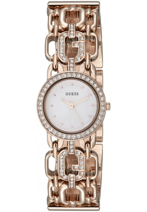 GUESS Women's  Feminine Rose Gold-Tone Watch with Genuine Crystals & Self-Adjustable Links