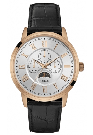 GUESS Men's Dressy Stainless Steel Leather Watch