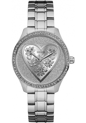 GUESS Women's U0910L1 Trendy Silver-Tone Watch with Silver Dial and Stainless Steel Pilot Buckle