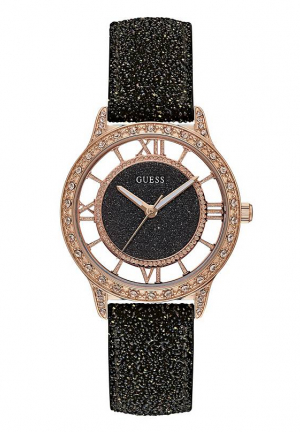 GUESS BLACK GLITTER LEATHER STRAP WATCH 38MM