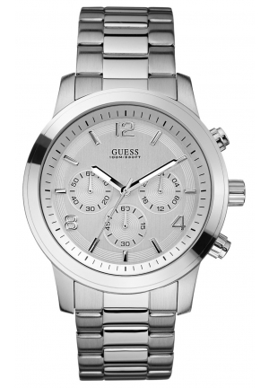 GUESS Watch, Men's Chronograph Stainless Steel Bracelet 45mm