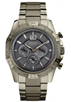 GUESS Grey and Black Boldly Detailed Chronograph Sport Watch 46mm