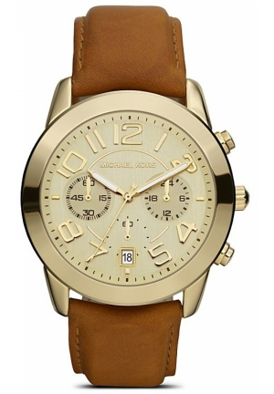 Unisex Shiny Gold Watch on Leather Strap, 41mm