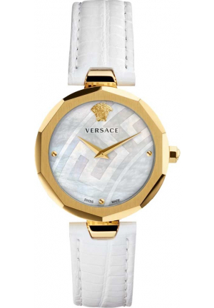 VERSACE IDYIA GOLD WHITE LEATHER STRAP V17050017, 36MM