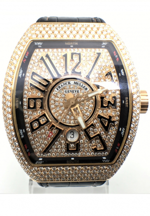 Franck Muller Vanguard in 18K Rose Gold w/ Aftermarket Diamonds