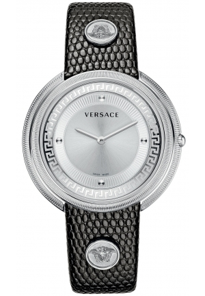 VERSACE Swiss Thea Black Lizard-Embossed 39mm