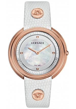 VERSACE Swiss Thea White Lizard-Embossed 39mm