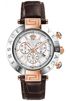 VERSACE Swiss Chronograph Reve Brown Leather Strap Watch 46mm