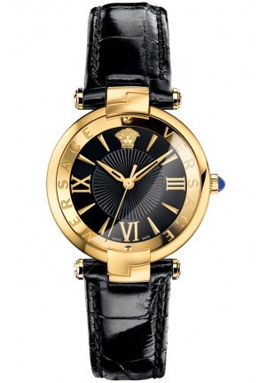 REVIVE ROMAN NUMERALS SHINY BLACK LEATHER WATCH 35MM