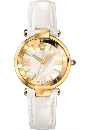 VERSACE REVIVE WHITE SHINY LEATHER WATCH 35MM