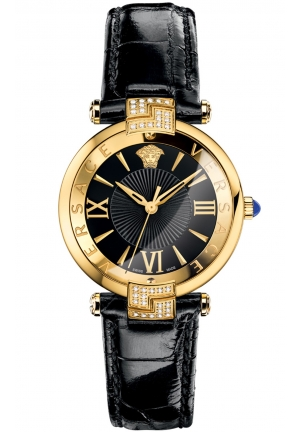 REVIVE IP YELLOW GOLD DIAL BLACK LEATHER STRAP WATCH 35MM
