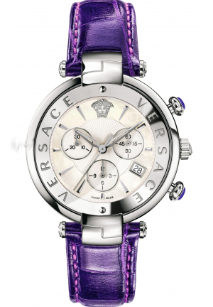 REVIVE CHRONOGRAPH MOP DIAL VIOLET LEATHER LADIES WATCH 41MM