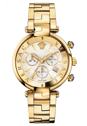 REVIVE CHRONO MOP DIAL GOLD IP STEEL DATE LADIES WATCH 41MM