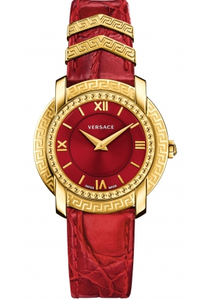 DV-25 LADY GOLD IP RED CALFSKIN RED, 36MM