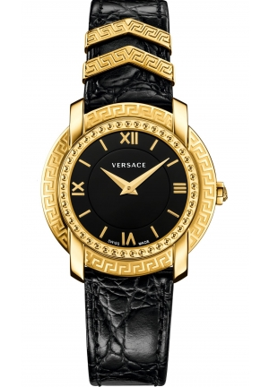 DV-25 ROUND LADY GOLD IP BLACK DIAL CALFSKIN WATCH, 36MM