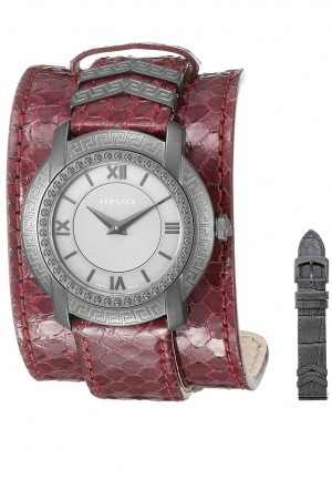 VERSACE WOMEN'S DV-25 GREY DIAL BURGUNDY LEATHER WATCH