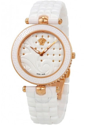 VANITAS WHITE QUILTED DIAL LADIES WATCH, 40MM