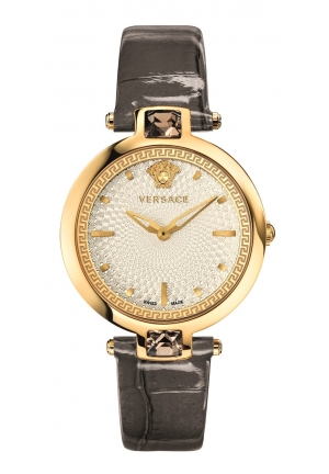 OLYMPO CRYSTAL GOLD IP WHITE DIAL GREY LEATHER, 36.5MM