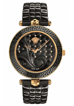 VANITAS BLACK DIAMOND DIAL CERAMIC LADIES WATCH