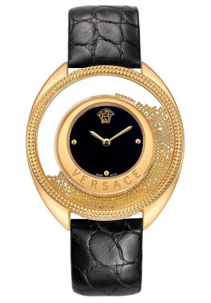 DESTINY SPIRIT BLACK DIAL LADIES LEATHER WATCH, 36MM