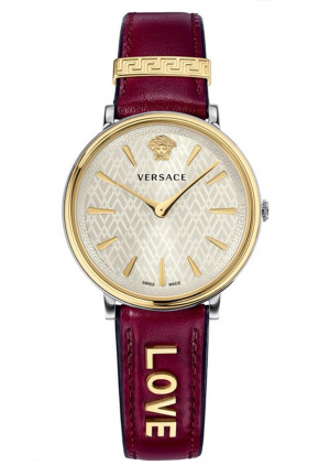 VERSACE V-CIRCLE BORDEAUX LEATHER