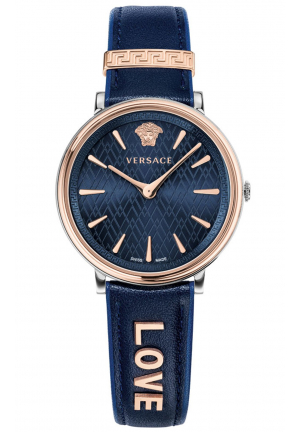 VERSACE V-CIRCLE BLUE LEATHER STRAP