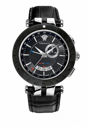 VERSACE Black and Steel V Race GMT 46 mm