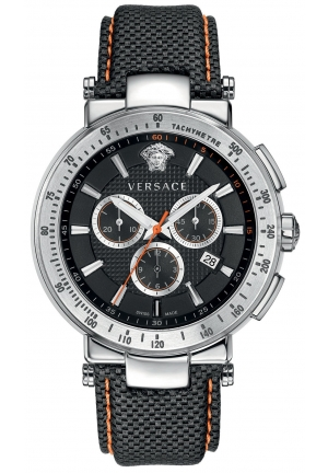 VERSACE Swiss Chronograph Mystique Sport Black Calf 46mm