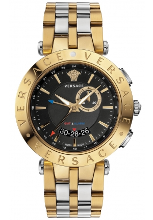 VERSACE Swiss V-Race GMT Two-Tone Stainless Steel Bracelet Watch 46mm