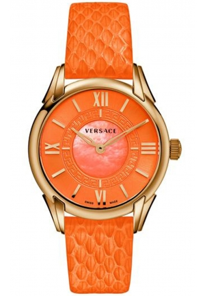 DAFNE ROSE GOLD ORANGE LEATHER LADIES WATCH , 33MM