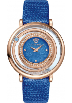 VERSACE VENUS BLUE DIAL LADIES LEATHER WATCH VFH070013, 39MM