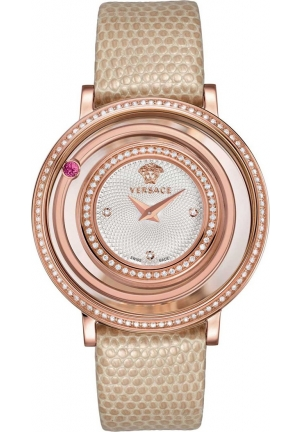 VENUS ROSE GOLD ION-PLATED COATED STAINLESS STEEL RED GENUINE TOPAZ DIAMOND WATCH 39MM