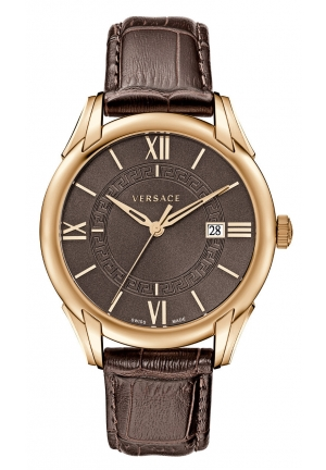 VERSACE Apollo Brown Dial Leather Strap Mens 42mm